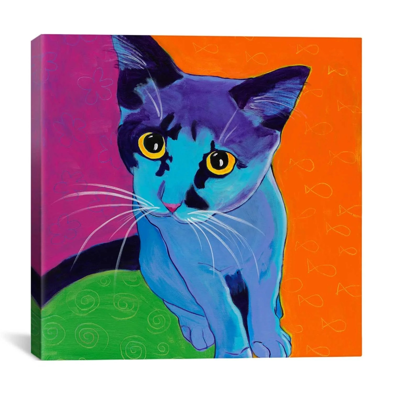 iCanvas ART DawgArt Kitten Blue Canvas Print Wall Art