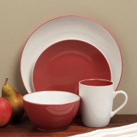 Shop Sofia Red/ White 16-piece Dinnerware Set - Free ...