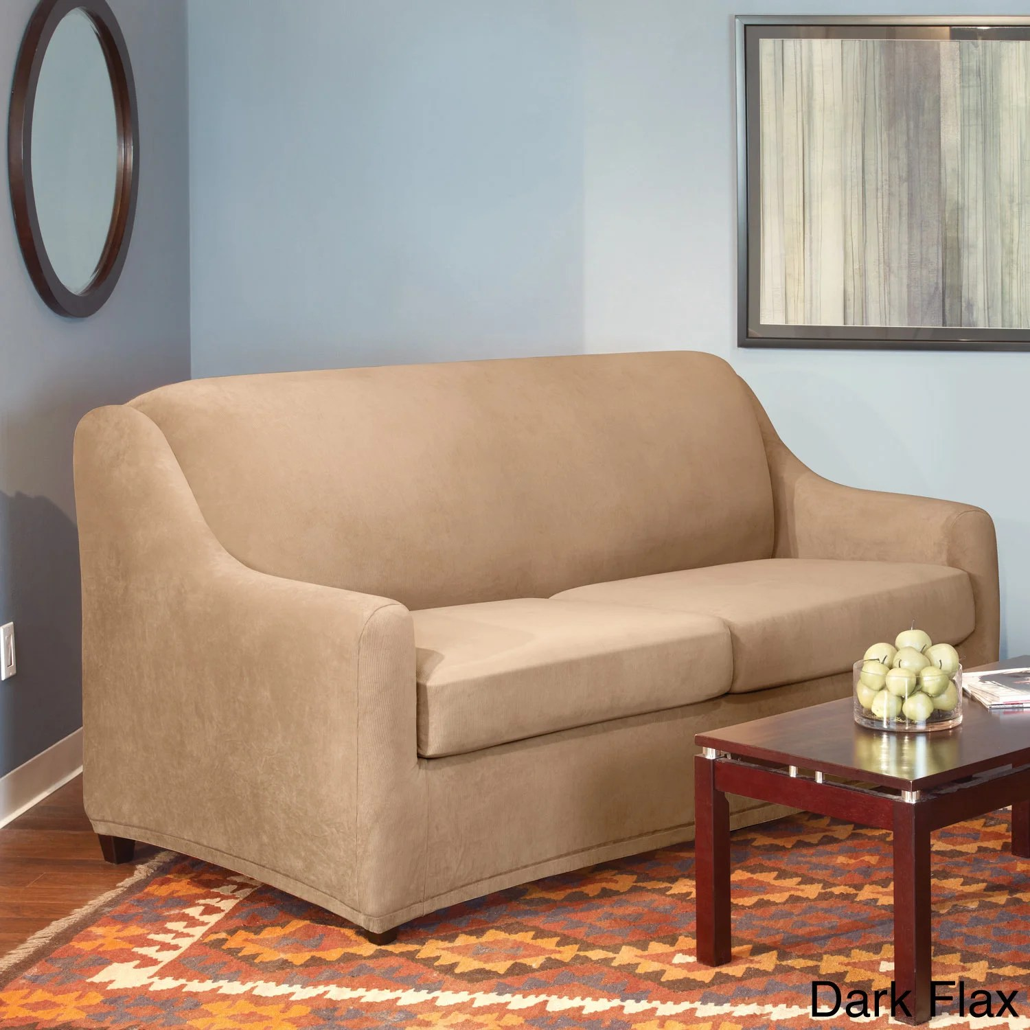 sure fit stretch pearson 3 pc sleeper sofa slipcover full raleigh knock off piece