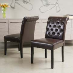 Leather Tufted Dining Chair Chairs That Convert To A Bed Palermo Brown Bonded Set Of 2 By Details About Christopher
