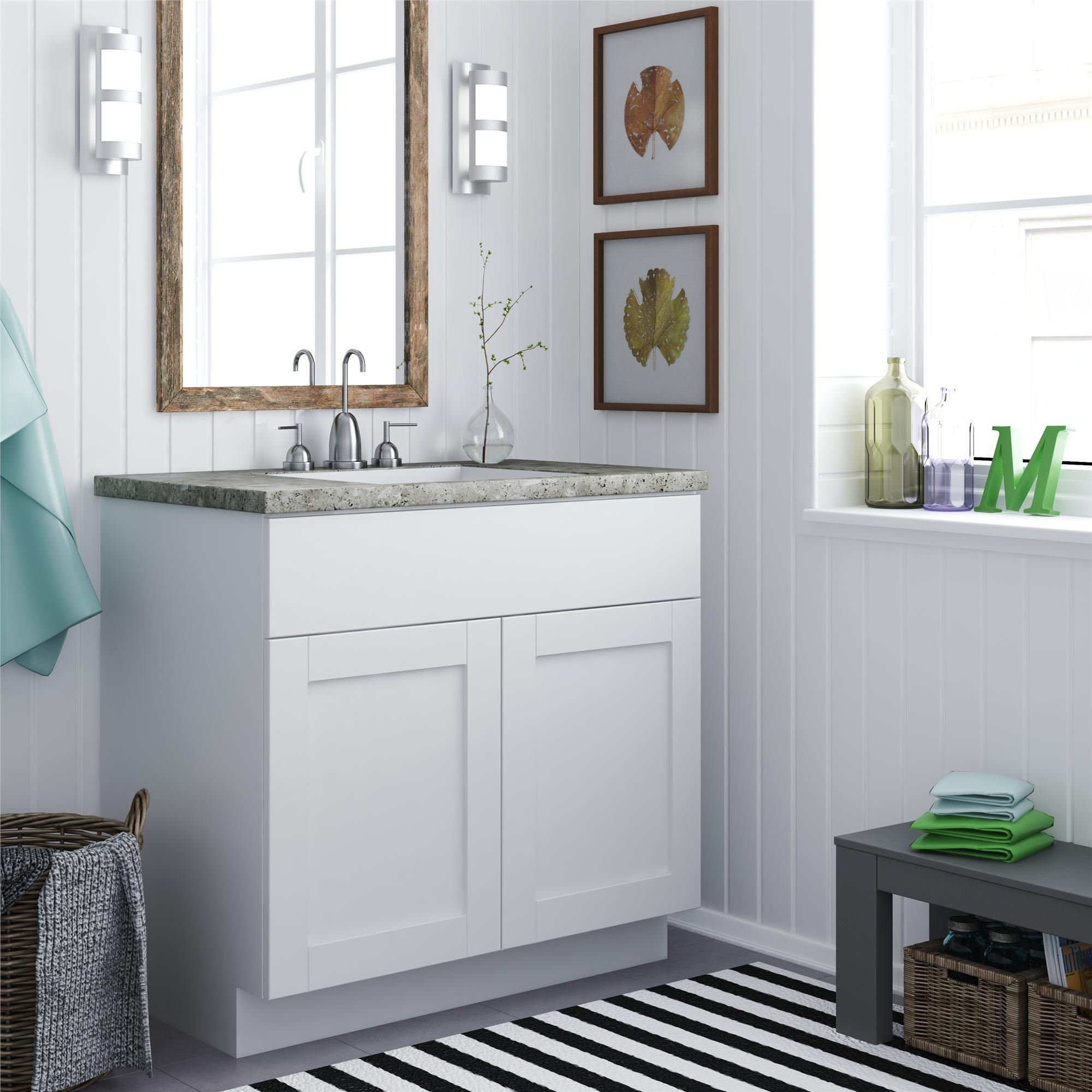 Shop Altra 30 Inch White Shaker Style Bath Vanity Cabinet Overstock 9148063