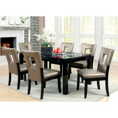 Overstock Com Dining Room Chairs Black And White Lounge Chair Cushions Shop Furniture Of America Evantel 7 Piece Mirror