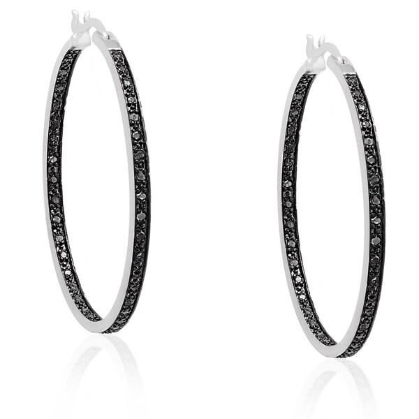 Shop Finesque Silverplated Black Diamond Hoop Earrings