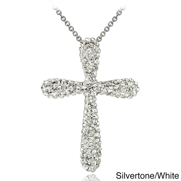 Shop Crystal Ice Silvertone Crystal Cross Necklace with