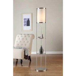 Artiva USA Exeter Modern 63-inch Brushed Steel Floor Lamp w/ Glass Shelf