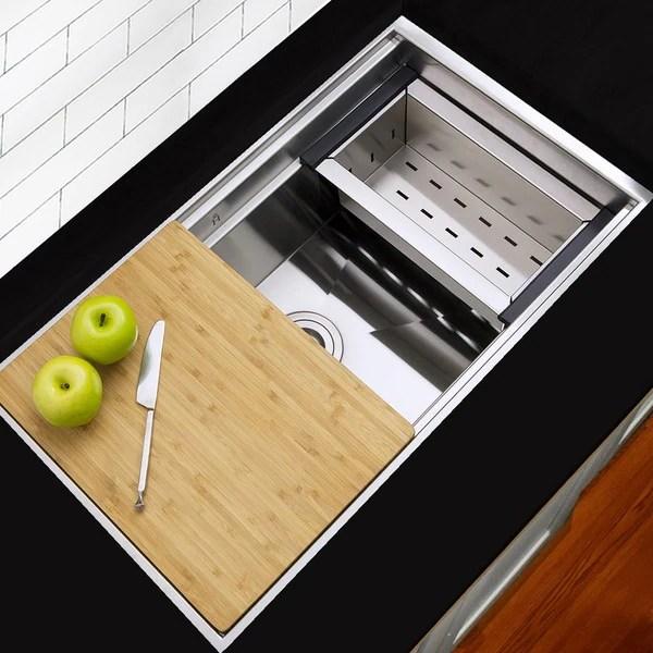 30 kitchen sink black stainless steel shop highpoint zero radius undermount w colander cutting
