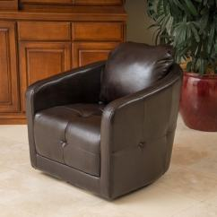 Brown Swivel Chair Dining Chairs Canada Shop Concordia Leather By Christopher Knight Home On