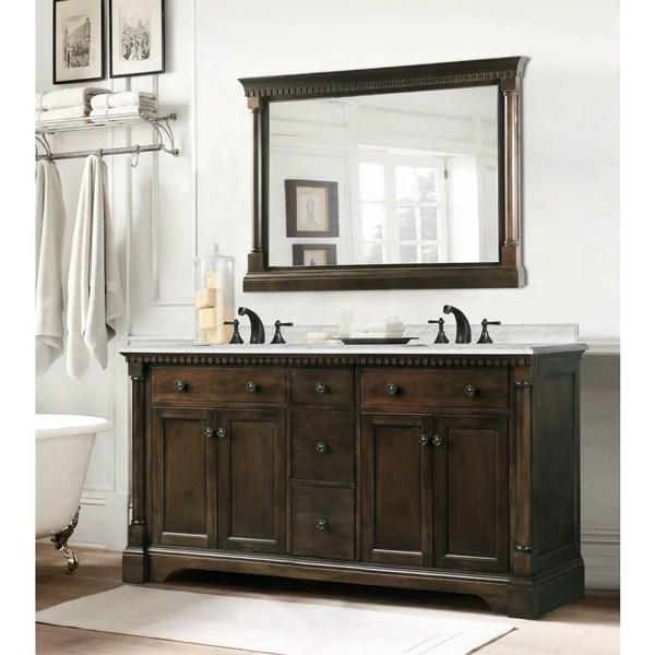 Shop Carrara Marble 60inch Double Sink Vanity in Coffee