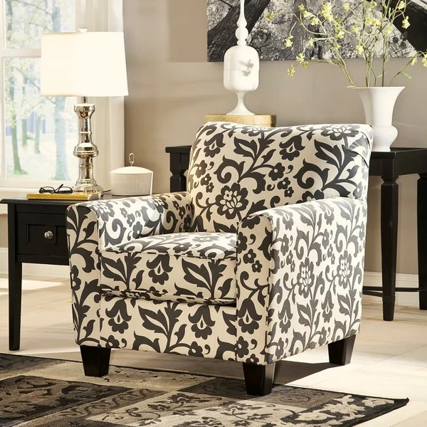 floral print accent chairs lightweight deck shop signature design by ashley levon charcoal chair free shipping today overstock com 9231957