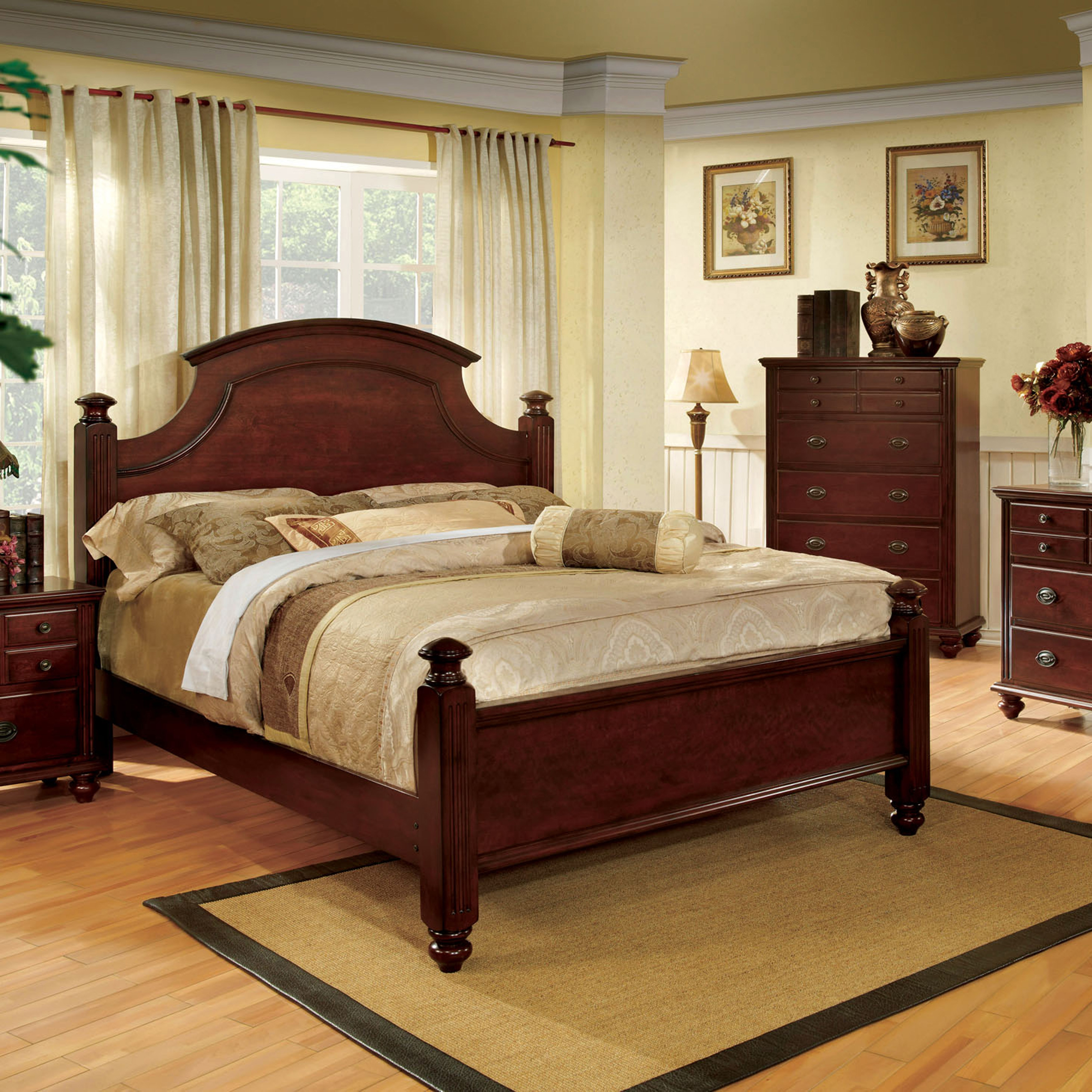 furniture of america bow transitional cherry four poster bed