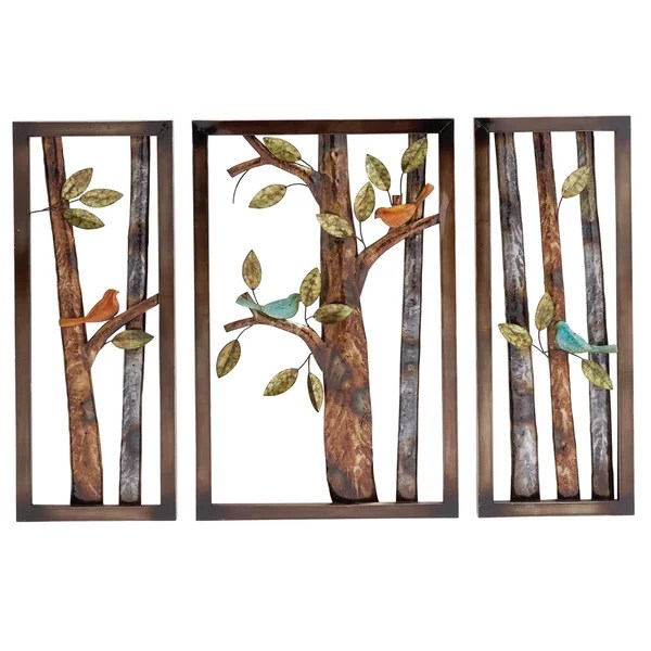 shop morning birds botanical handcrafted piece metal wall art