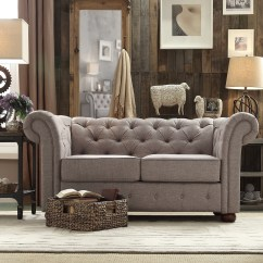 Tribecca Home Knightsbridge Beige Linen Tufted Scroll Arm Chesterfield Sofa Muji Review