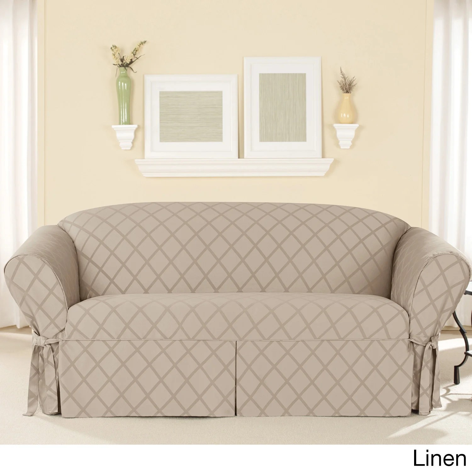 durham one piece sofa slipcover cream leather reclining sure fit overstock