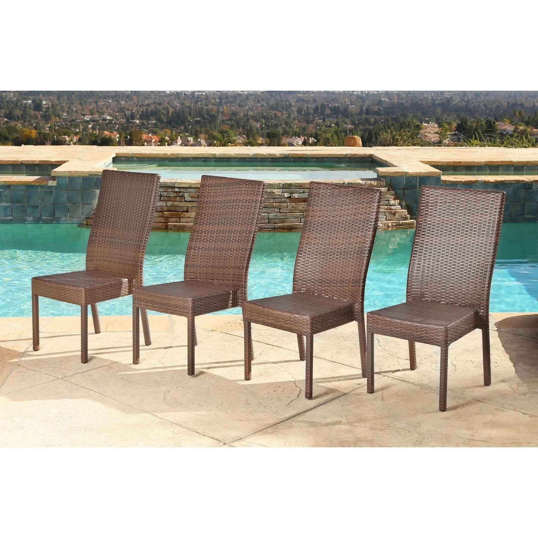 Outdoor Wicker Dining Chairs Details About Abbyson Palermo Outdoor Wicker Dining Chairs Set Of 4