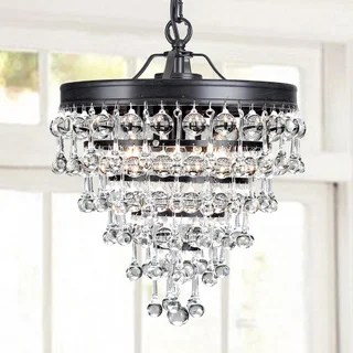 Claudia 3 Light Crystal Glass Drop Chandelier In Antique Black Finish
