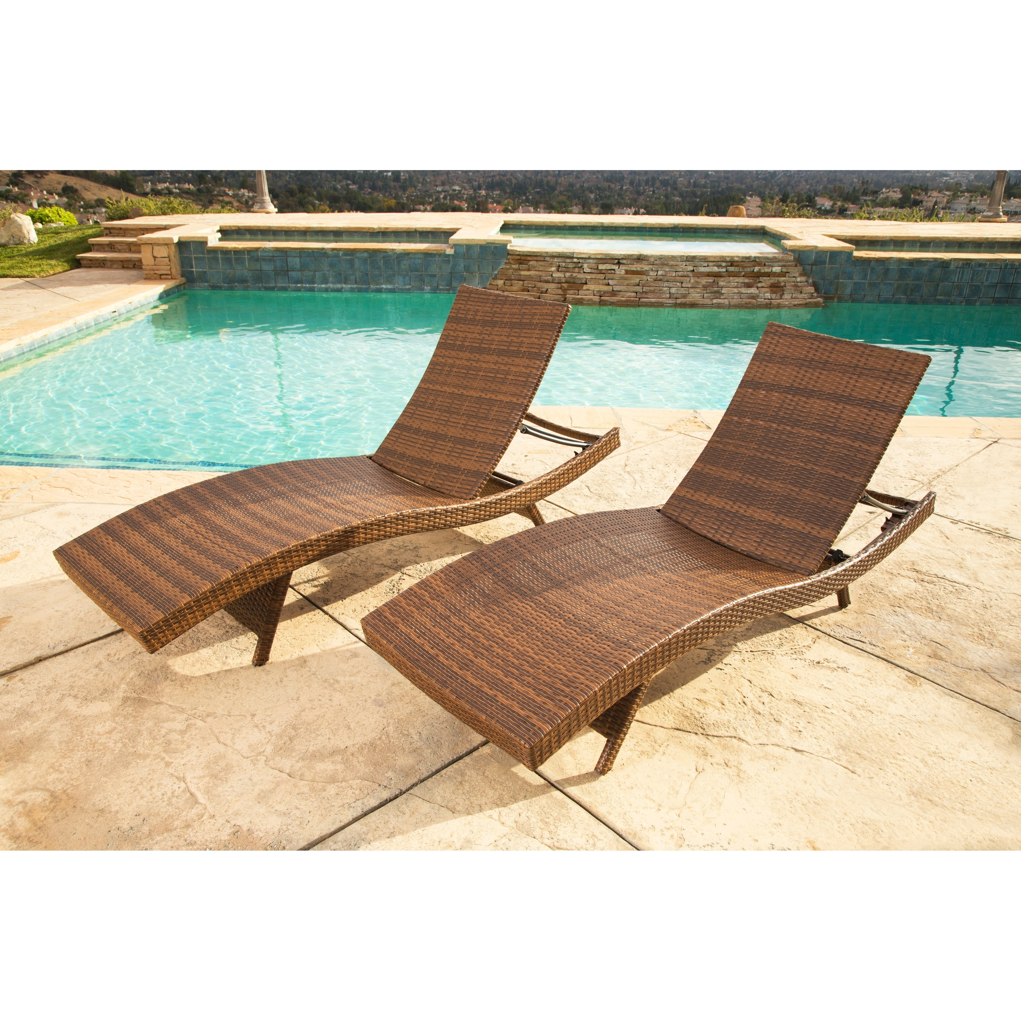 set of 2 chaise lounge chair tan pool