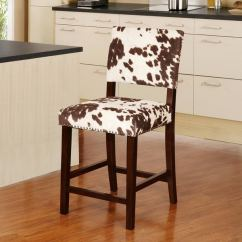 Chair Stool With Back Montessori Table And Chairs Shop Linon Holcombe Stationary Counter Plush Cow Print Seat Amp