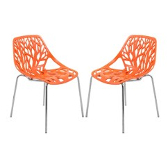 Orange Side Chair Camping Chairs With Sunshade Shop Leisuremod Asbury Open Back Chrome Dining Set Of 2