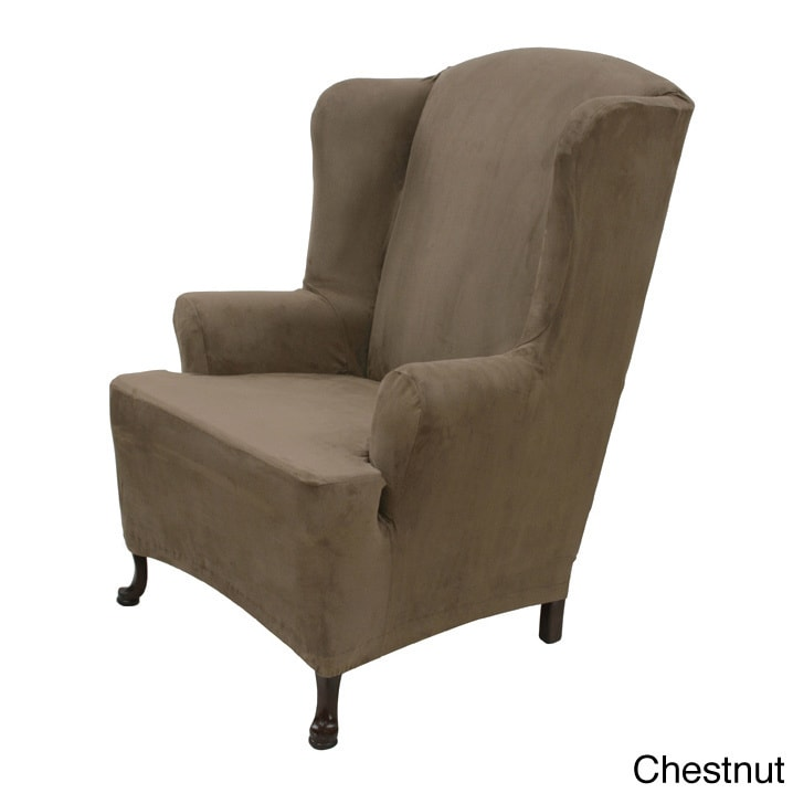 Stretch Suede Wing Chair Cover  Overstock Shopping  Big