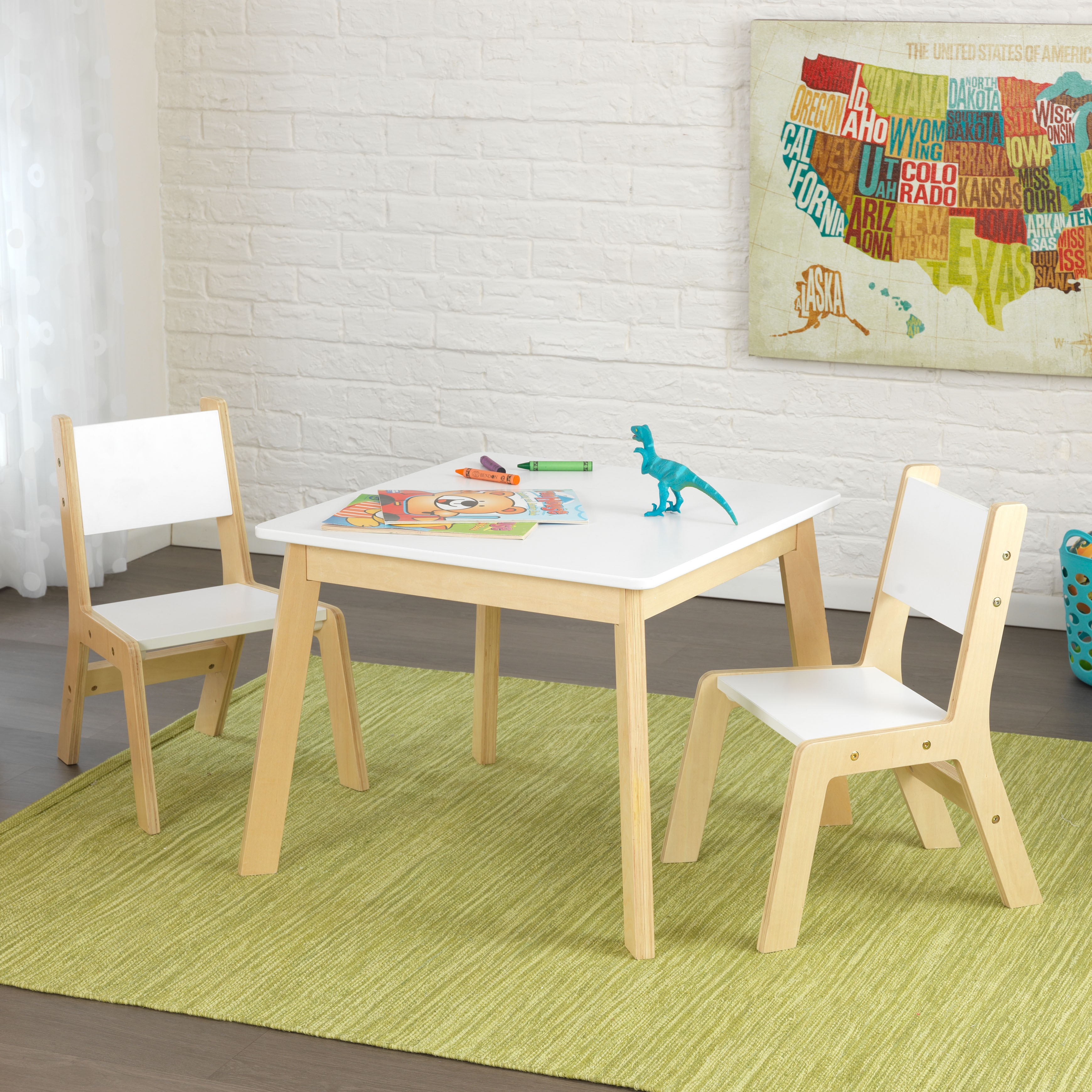 kidkraft white table and chairs horse riding chair 3 piece natural modern