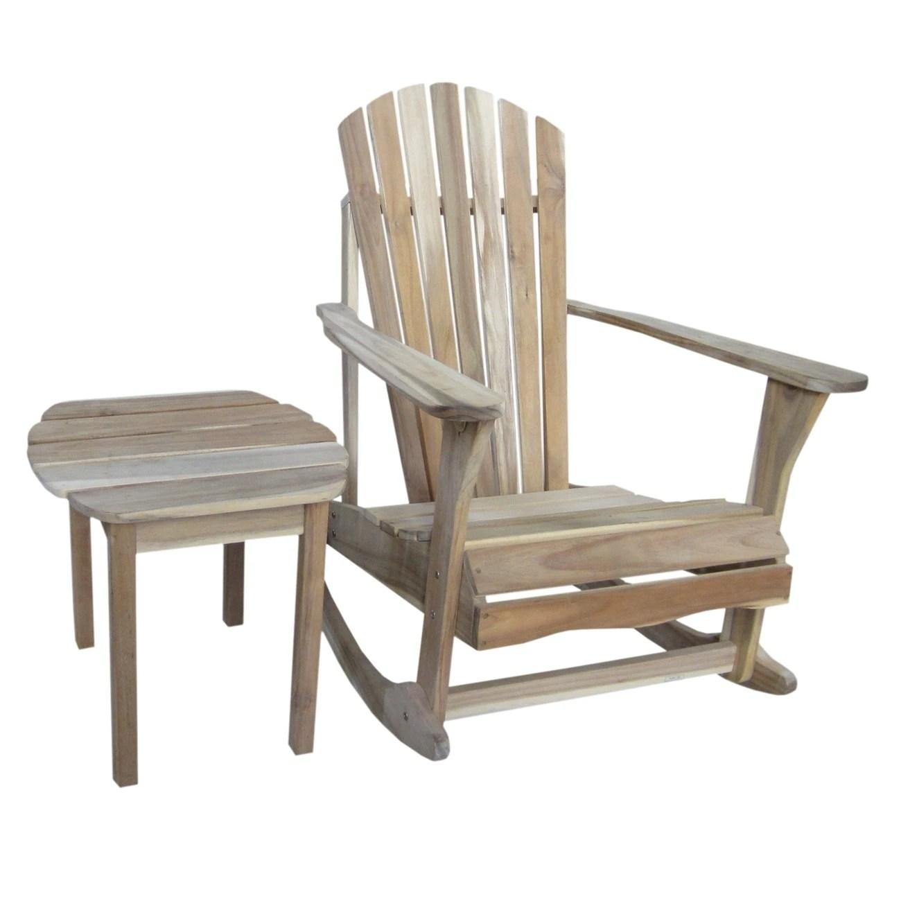 unfinished rocking chair sofa and slipcovers shop adirondack acacia wood rocker side