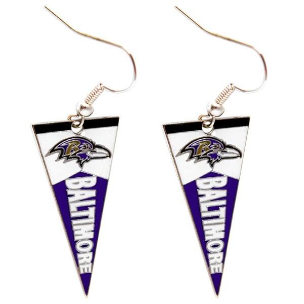 Shop NFL Baltimore Ravens Pennant Earrings Free Shipping