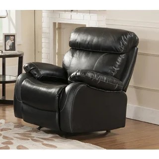 abbyson living rocking chair best chairs inc recliner barcelona black leather reclining 3-piece sofa set with - free shipping ...
