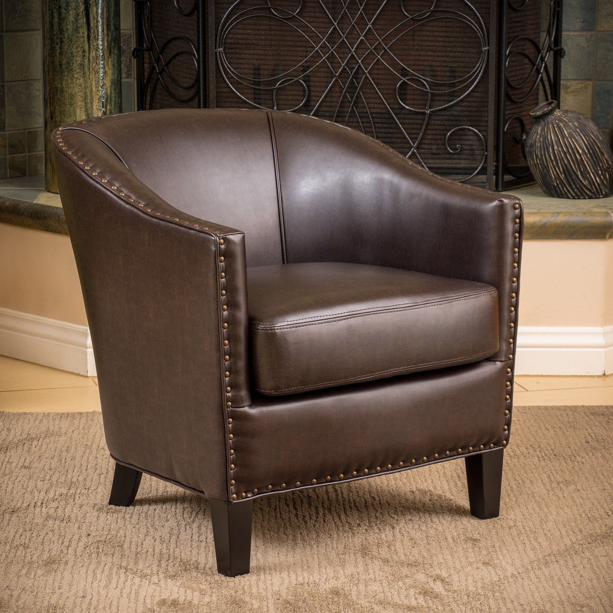 christopher knight leather chair ikea padded covers home austin bonded club