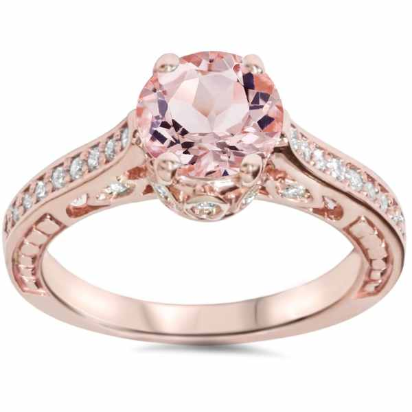 Bliss 14k Rose Gold 1 4ct Tdw Diamond And Morganite