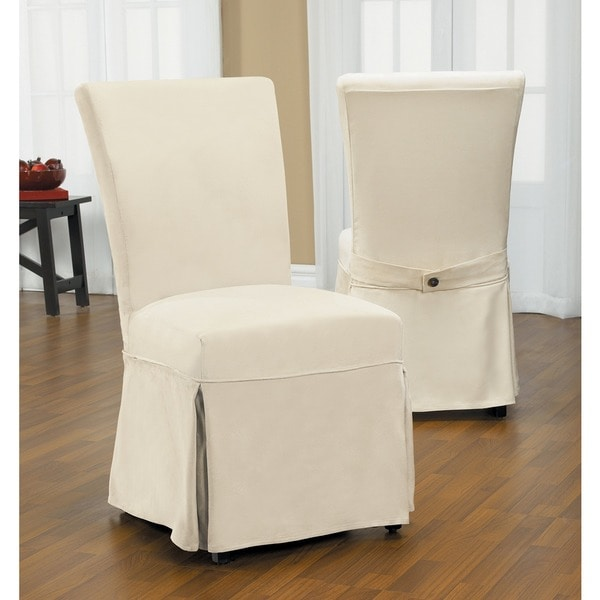 stretch chair covers for sale green slipcover quickcover duck long relaxed fit dining with buttons - free shipping today ...
