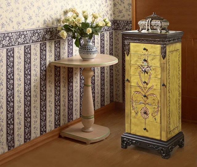 Powell Elizabethan Antique Parchment Hand Painted Jewelry Armoire Overpacked
