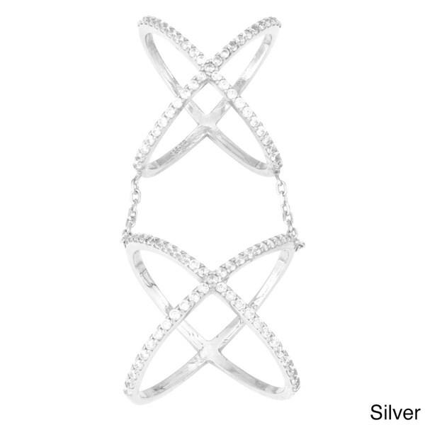 La Preciosa Sterling Silver CZ Double X Criss-Cross Ring