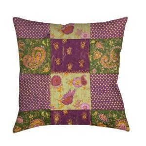 Purple Paisleys and Dots Indoor/ Outdoor Throw Pillow