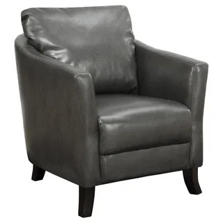 Lummi Charcoal Grey Leather High Back Chair Free