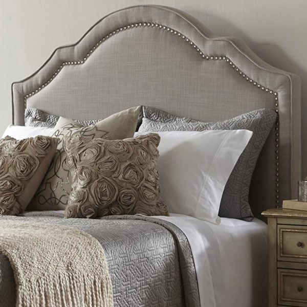 Shop Elegant Taupe Queen Size Upholstered Headboard  On Sale  Free Shipping Today  Overstock