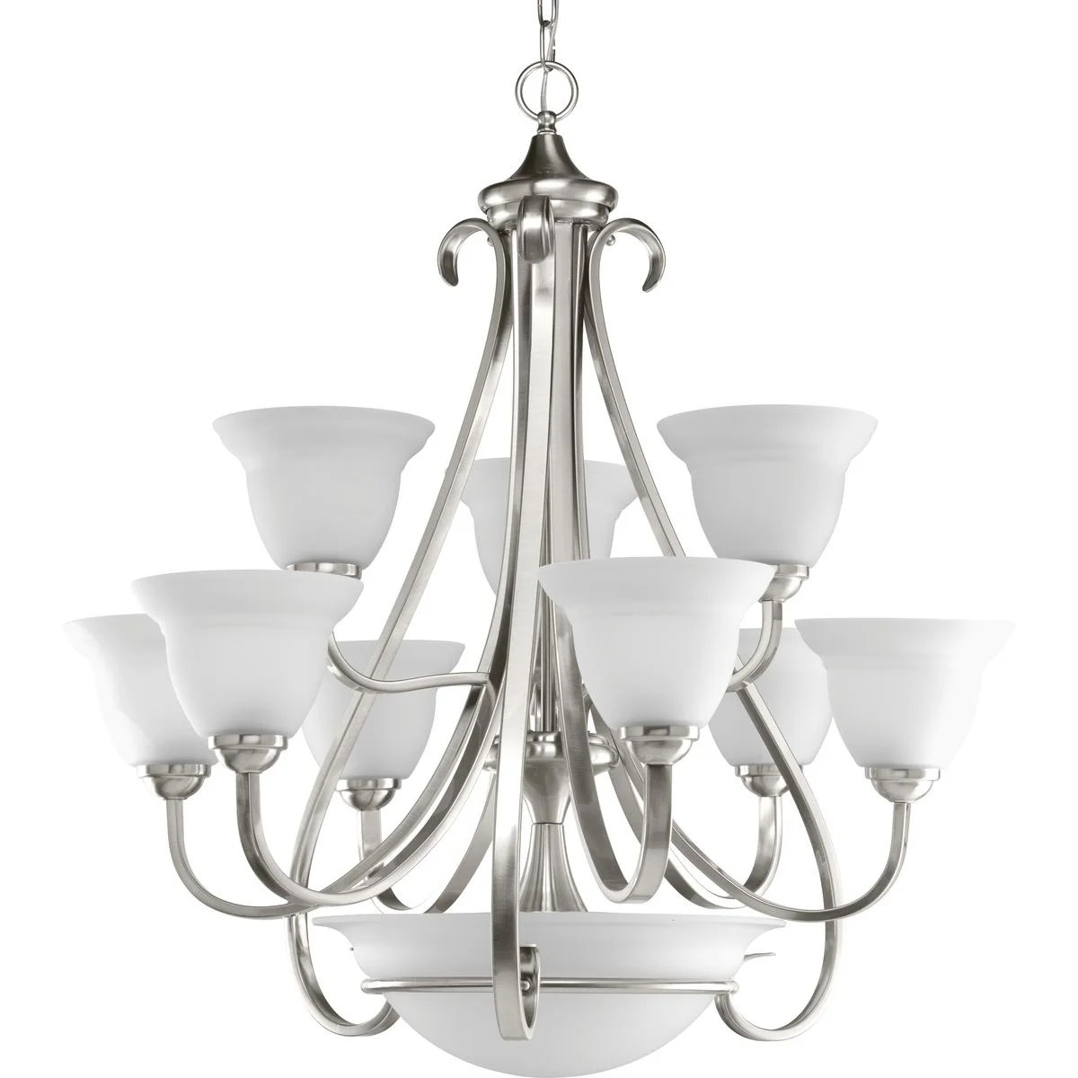 torino collection 9 light brushed nickel etched glass transitional chandelier light n a