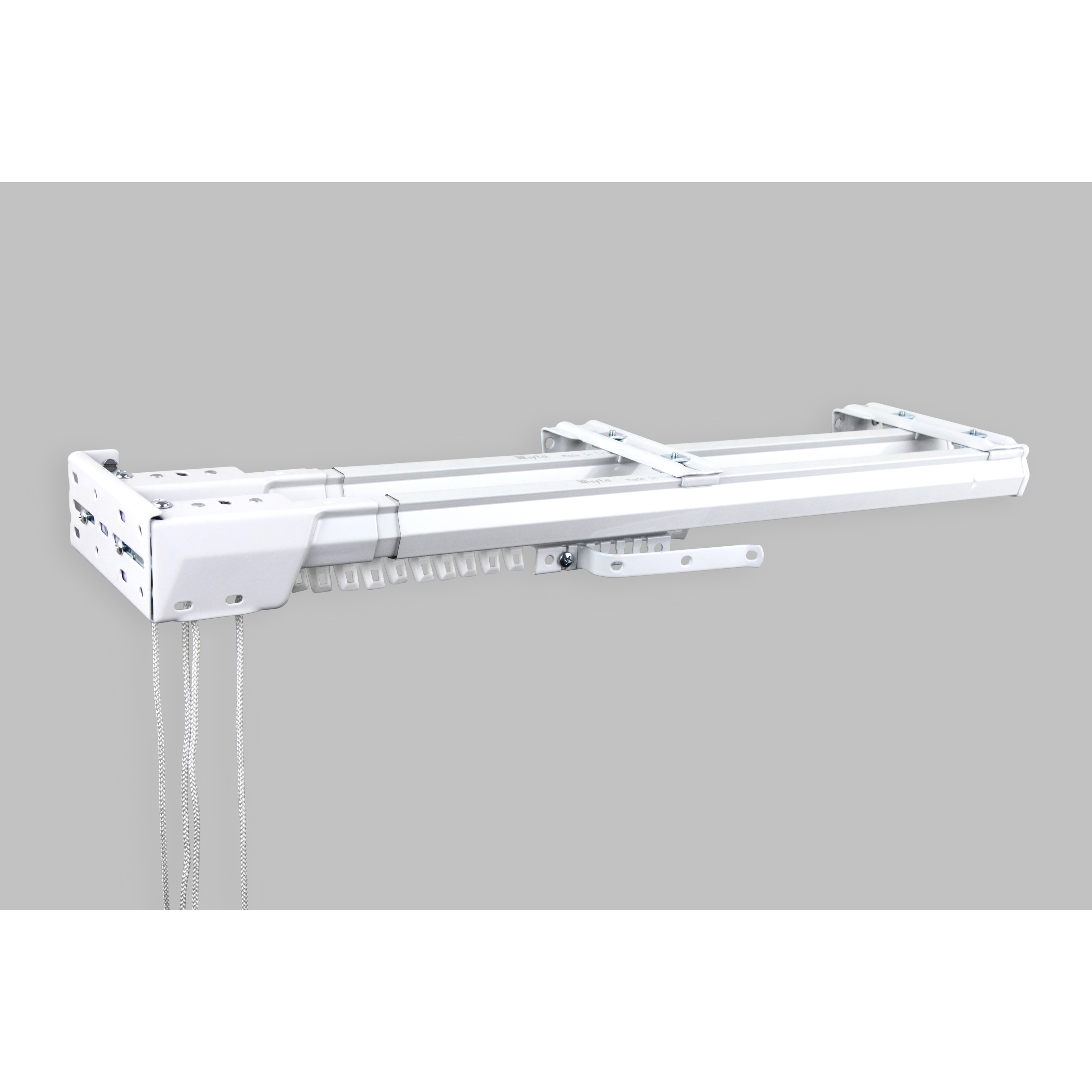 instyledesign white heavy duty double traverse rod one way cord left