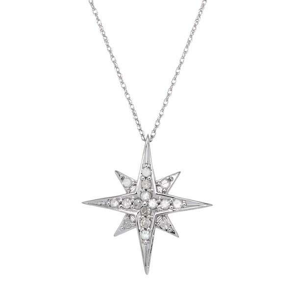 Shop 10k White Gold 1/4ct TDW Diamond Starburst Pendant