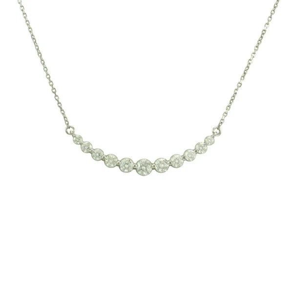 Fabulous 14k Gold 1ct TDW Curved Diamond Bar Necklace G H