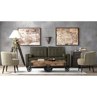 tribecca home knightsbridge beige linen tufted scroll arm chesterfield sofa sears sets inspire q winslow concave modern - 13867507 ...