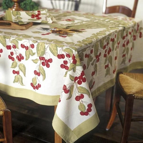 small rectangular kitchen table outdoor shed shop cherry red/ green cotton tablecloth ...
