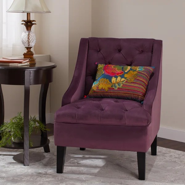purple accent chairs sale modern grey leather dining chair shop abbyson laguna tufted velvet on