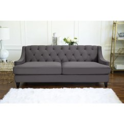 Velvet Grey Tufted Sofa Reclining Sets Lazy Boy Shop Abbyson Claridge Dark Fabric On Sale