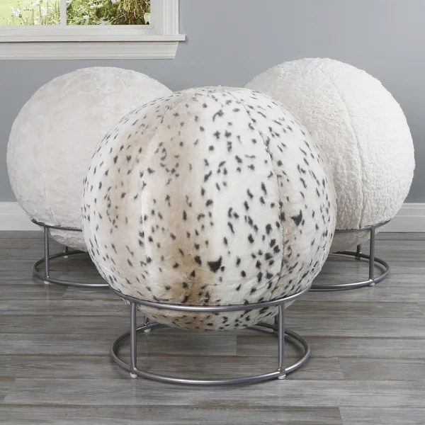 Shop Aurora Home Faux Fur 65cm Yoga Ball Chair  Free