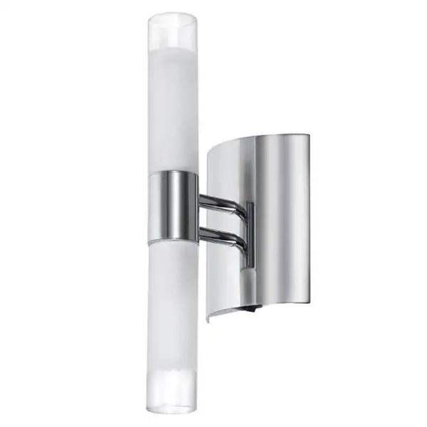 2light Polished Chrome White Frosted Glass Tubular Wall
