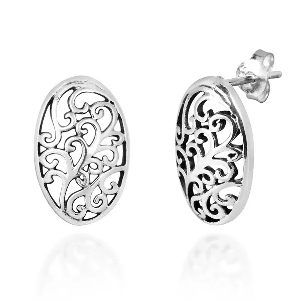 Shop Handmade Oval Decorative Swirls Sterling Silver .925