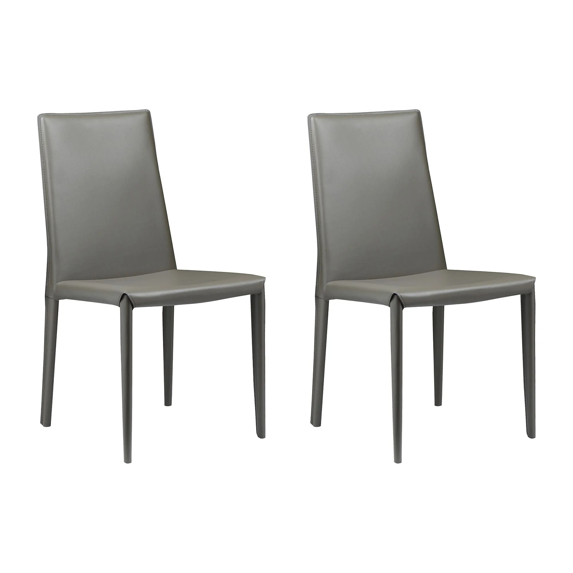Aurelle Home Classic Italian Leather Dining Chair Set Of 2