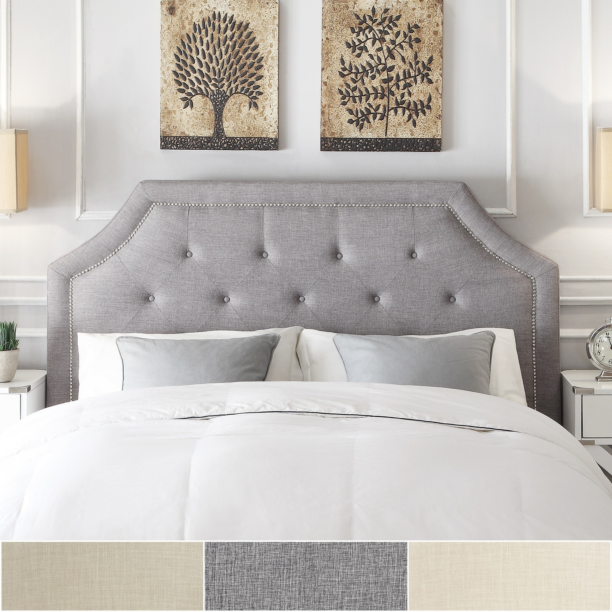 grace button tufted fabric headboard with nailhead trim by inspire q bold
