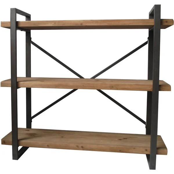 Aurelle Home Industrial Wood And Metal 3 Tiered Shelf
