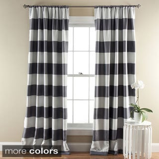 Nautica Cabana Stripe 84 Inch Cotton Grommet Top Curtain Panel